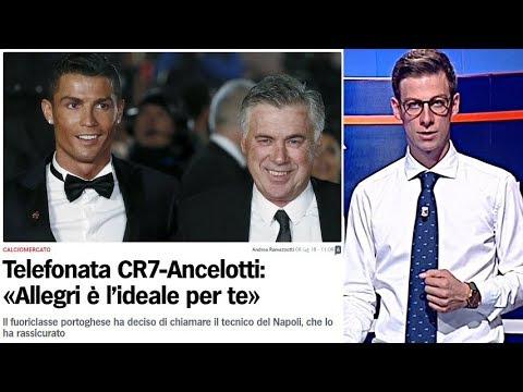 """Ancelotti a CRISTIANO RONALDO: """"ALLEGRI è l'ideale per te!"""", JUVE: Maglia CR7 via dallo store REAL!"""