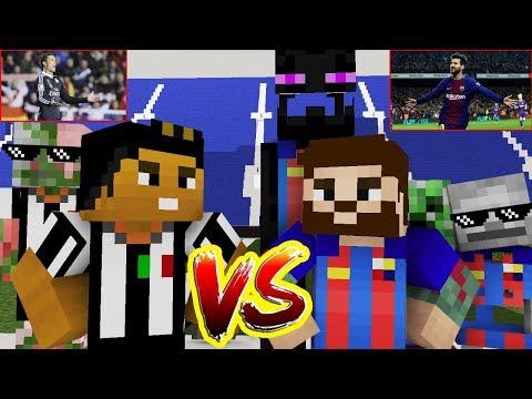 Monster School: CR7-RONALDO FC.JUVENTUS vs M10-MESSI FC.BARCELONA 2018 – Minecraft Animation