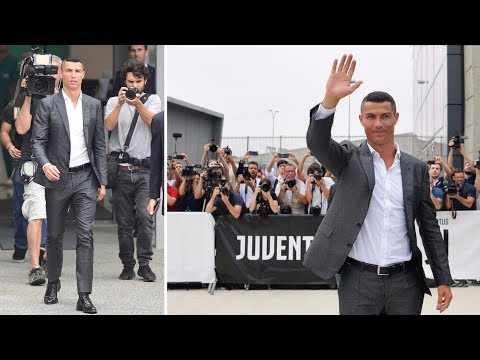 Cristiano Ronaldo arrive at Juventus Stadium Allianz for medical and official unveiling