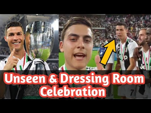 Cristiano & Juventus Players Unseen & Dressing Room Celebration After Win The Supercoppa Cup.