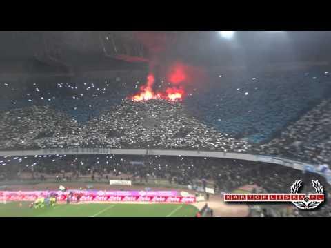 Napoli – Juventus tifosi. Curva B (vesuvio) and Curva A entering the game. 3.01.2013