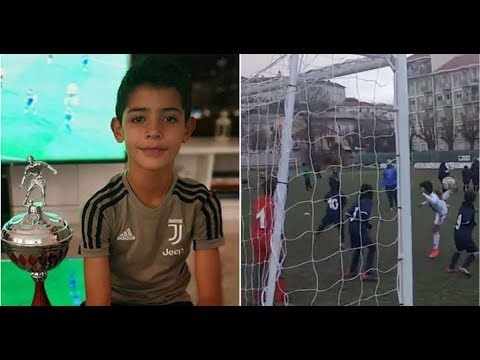 Cristiano Ronaldo Jr's performances for Juventus U9 before trophy picture on Instagram
