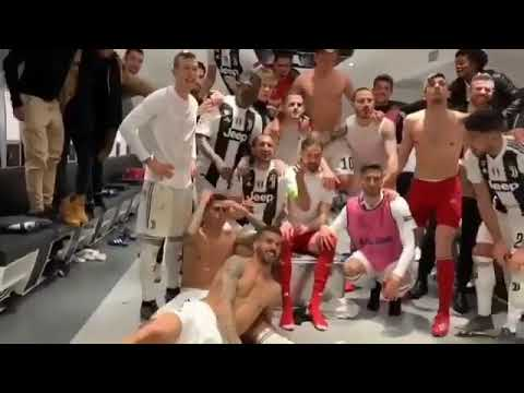 Juventus players and cristiano celebrating in dressing room after win vs  At Madrid