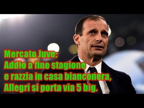 Mercato Juve: Addio a fine stagione e razzia in casa bianconera, Allegri si porta via 5 big.
