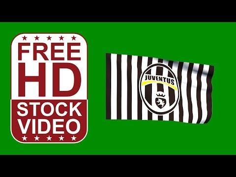 Free Stock Videos – Juventus logo flag waving on green screen 3D animation
