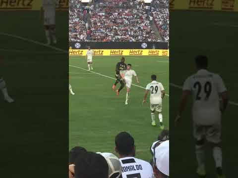 Fan runs on field at Real Madrid vs Juventus game in Fedex Field