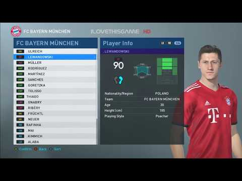 PES 2019 FACE & PLAYER RATING : Bayern Munchen