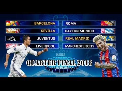 Champions League Quarter Final Line up 2018 | UEFA Champions League 2018 | Messi vs Ronaldo
