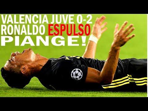 RONALDO ESPULSO PIANGE! RED CARD! Valencia Juventus 0-2 #ValenciaJuventus #Ronaldo #CR7 #UCL