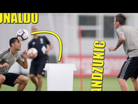 Cristiano Ronaldo and juventus players training for game vs Sassuolo 2018